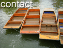 Picture of punts (flat bottomed boats used in shallow water around Cambridge).  Get from A to B.